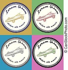 car, vetorial, jogo, ilustração, logotipo