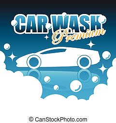 car, vetorial, lavagem