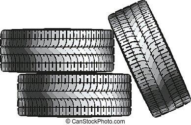 car, vetorial, pilha, ilustração, tires.