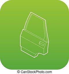 car, vetorial, porta, verde, ícone
