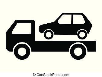 car, vetorial, reboque, caminhão, ilustração