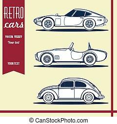 car, vetorial, retro, ilustração, pacote