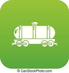 car, vetorial, tanque, verde, ícone
