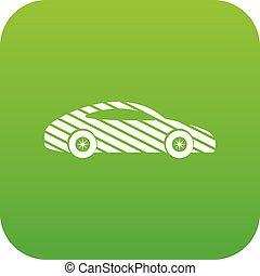 car, vetorial, verde, ícone