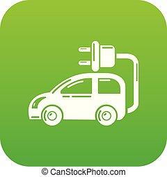 car, vetorial, verde, elétrico, ícone