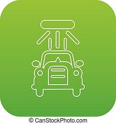 car, vetorial, verde, lavagem, ícone