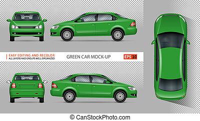 car, vetorial, verde, mockup