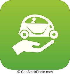 car, vetorial, verde, proteção, ícone