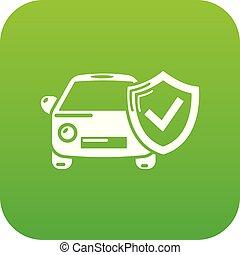 car, vetorial, verde, seguro, ícone