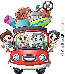 car, viajando, família