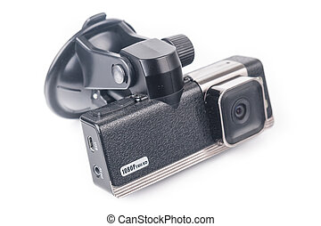 Car video recorder isolated on white background