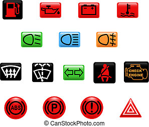 Computer generated illustration. Set of icons: car warning lights
