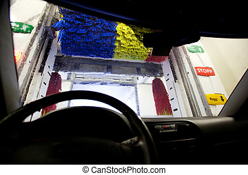 Car Wash - An interior of an automatic car wash, shot from...