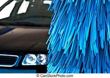 Car wash - automatic car wash brushes (shallow DOF)