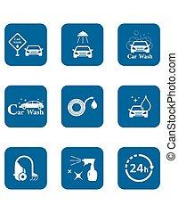 car wash blue icon set