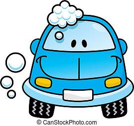 Car wash blue vector - Happy blue cartoon car washing with...