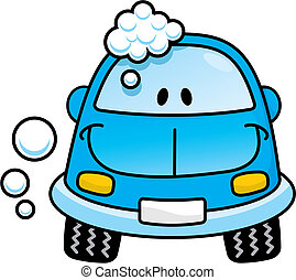 Happy blue cartoon car washing with soap bubbles
