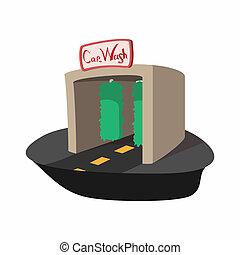 Car wash building cartoon icon