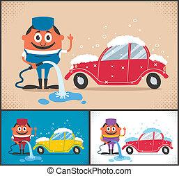 Car Wash - Cartoon character washing car. The illustration...