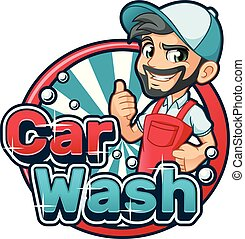 Car Wash Cartoon Logo