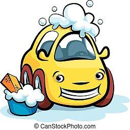 Car Wash Cartoon Vector - Smiling Yellow Car Wash Cartoon...
