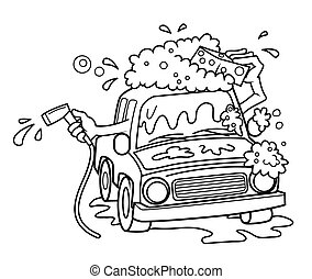 car wash cartoon vector illustration
