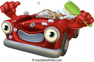 Car wash character - Cartoon car wash character with a happy...