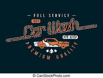 Car wash emblem in retro style