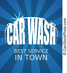 Car wash - Blue car wash poster. EPS10 vector image.