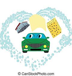 Car wash - Rag, brush, sponge and water, like washing a car