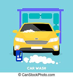 Car Wash Flat Concept Icon