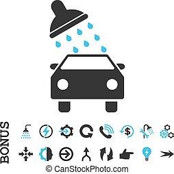 Car Wash Flat Vector Icon With Bonus