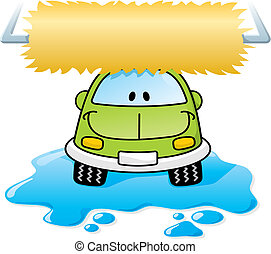 Car wash green vector - Cartoon car washing with roller...