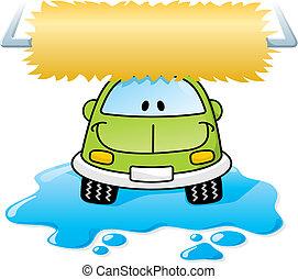 Car wash green vector - Cartoon car washing with roller...