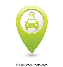 Car wash icon on map pointer.