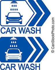 car wash icon with arrow