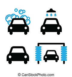 Car wash icons black and blue set