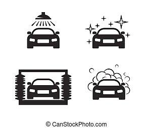 Car wash icons set.