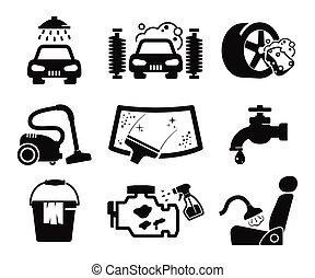 Car wash icons set - Car wash and car service icons...