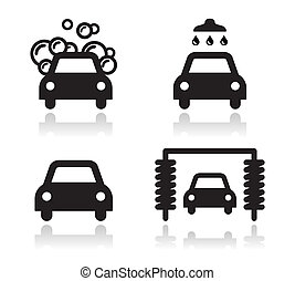 Car wash icons set - vector - Modern black icons set with...