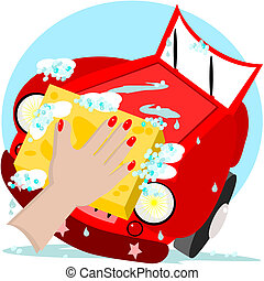 Car wash - A woman's hand is starting to wash her car with a...