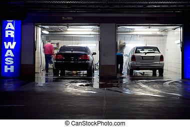 Car wash in underground parking garage