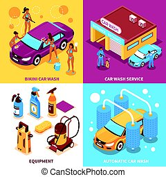 Car Wash Isometric Design Concept