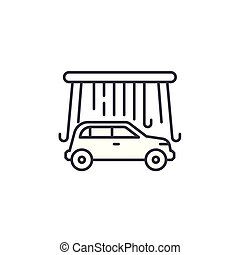 Car wash linear icon concept. Car wash line vector sign, symbol, illustration.