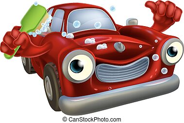 Car wash mascot - Cartoon car wash mascot with a happy face...