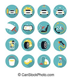 Car Wash Objects icons Set - Flat Design, Car Care,...