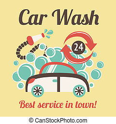 Car wash poster - Car wash auto cleaner best service in town...