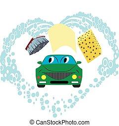 Rag, brush, sponge and water, like washing a car