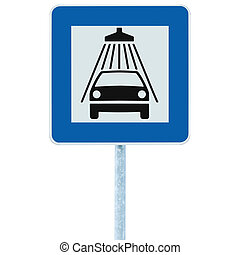 Car wash road sign on post pole traffic roadsign, blue isolated