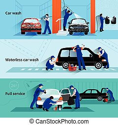 Car Wash Service 3 Flat Banners